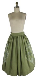 Vintage 1950's Circle Swing Patchwork Skirt Green