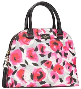 Kate Spade Floral Roses Multi-colored Black Leather Strap Cross Body Bag