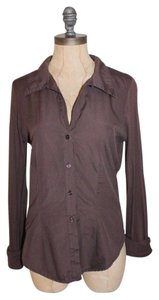 James Perse Stretchy Classic James Button Down Shirt BROWN
