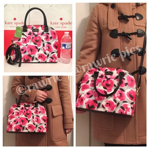 Kate Spade Floral Roses Multi-colored Strap Pink Roses Satchel in Black