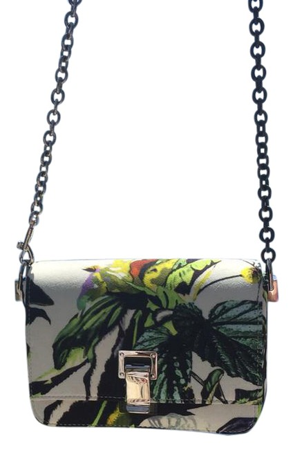 Proenza Schouler Colorful White with Green Black Yellow and Purple. Fabric Cross Body Bag Proenza Schouler Colorful White with Green Black Yellow and Purple. Fabric Cross Body Bag Image 1