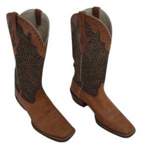 Ariat Square Toe Cowgirl Print Western Leopard / Brown Boots