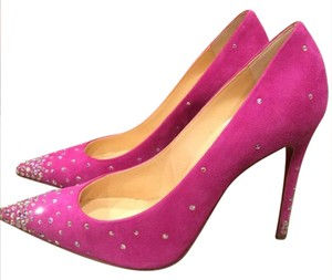 Christian Louboutin Degrastrass Crystal Swarovski Indian Rose (Pink) Pumps