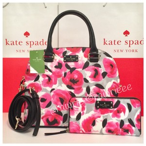 Kate Spade Floral Set Matching Set Gift Set Black Leather Cross Body Bag