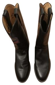 Justin Boots Leather Cowboy Black Boots
