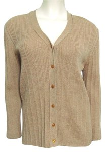 Doncaster Wool Brown M Don 8 10 Metallic Sweater Ribbed Knit Italy Buttoned Cardigan