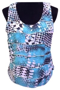 Ann Taylor Top Turquoise/Black/Grey/Off-White