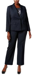Le Suit Le Suit Plus Size Three-Piece One-Button Pantsuit Midnight/Storm 18W