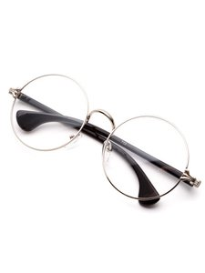 haus Silver Frame Black Arm Clear Lens Glasses