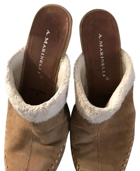 Item - Light Tan Suede White Trim Mules/Slides Size US 7 Regular (M, B)