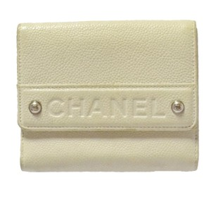 Chanel cream white caviar leather CC logo trifold wallet