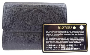 Chanel black caviar leather quilted CC bifold wallet