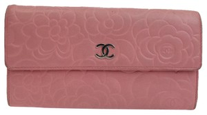 Chanel pink camellia stamp lambskin long wallet
