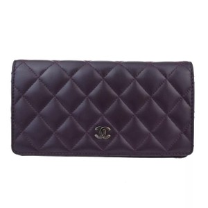 Chanel quilted black lambskin leather CC long wallet