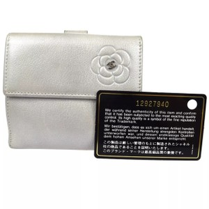 Chanel silver metallic lambskin leather camellia bifold wallet