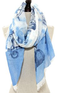 Nautical Anchor Helm Sealife Blue Scarf