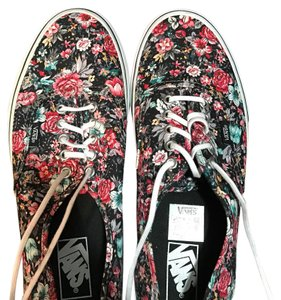Vans black with multi color flowers Athletic
