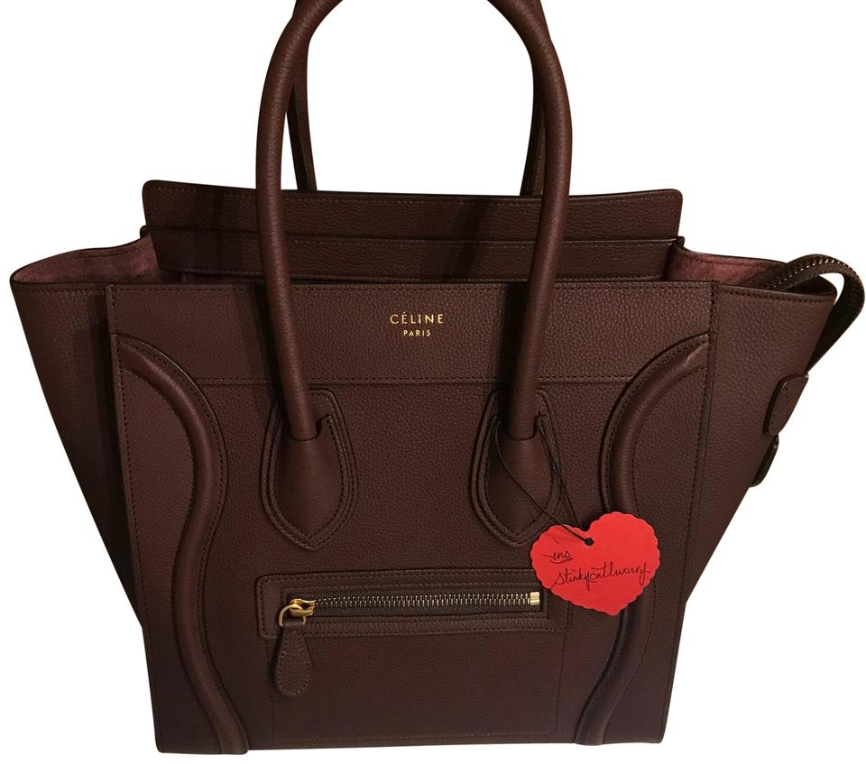 525b58470419a Céline Luggage Micro Wine Red Leather Tote - Tradesy