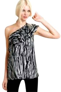 Rachel Zoe Silk Ruffle One Animal Print Top
