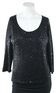 Eileen Fisher Sequin Silk Cotten Crewneck Sweater