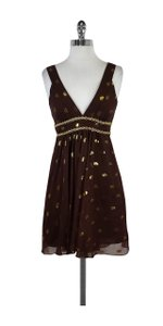 MILLY short dress Brown Gold Spotted Silk on Tradesy