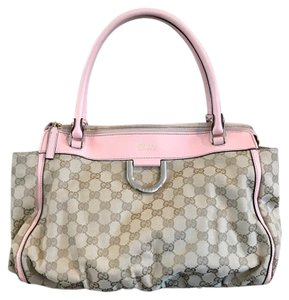 Gucci Tote in Sand GG fabric w/ pink leather trim