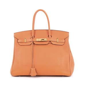 Hermès Leather Tote in Orange