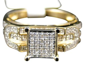 Other 10K Yellow Gold Pave Diamond Engagement Bridal Fashion Ring .31Ct