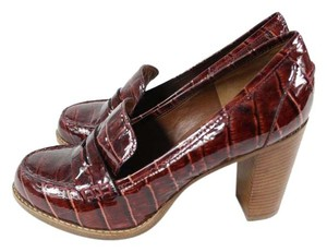 Marc by Marc Jacobs Patent Leather Snakeskin Burgundy Chunky Pumps