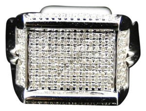 Other 10K White Gold Round Cut Pave XL Designer Pinky Band Ring .86 Ct