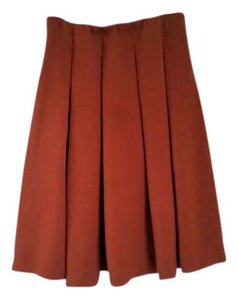 Uniqlo Navy Blue Pencil Textured Wear To Work Skirt Rust colored