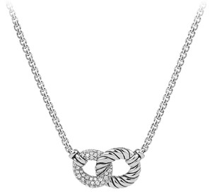 David Yurman Belmont double curb link necklace with .23 diamonds