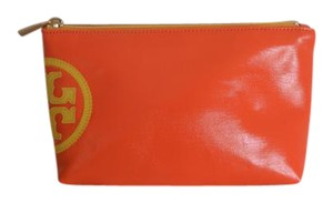 Tory Burch TORY BURCH BEACH DIPPED SMALL SLOUCHY COSMETIC BAG CASE CLUTCH ORANGE
