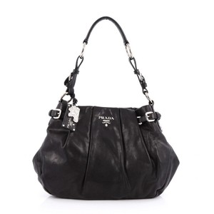 Prada Buckle Calfskin Hobo Bag