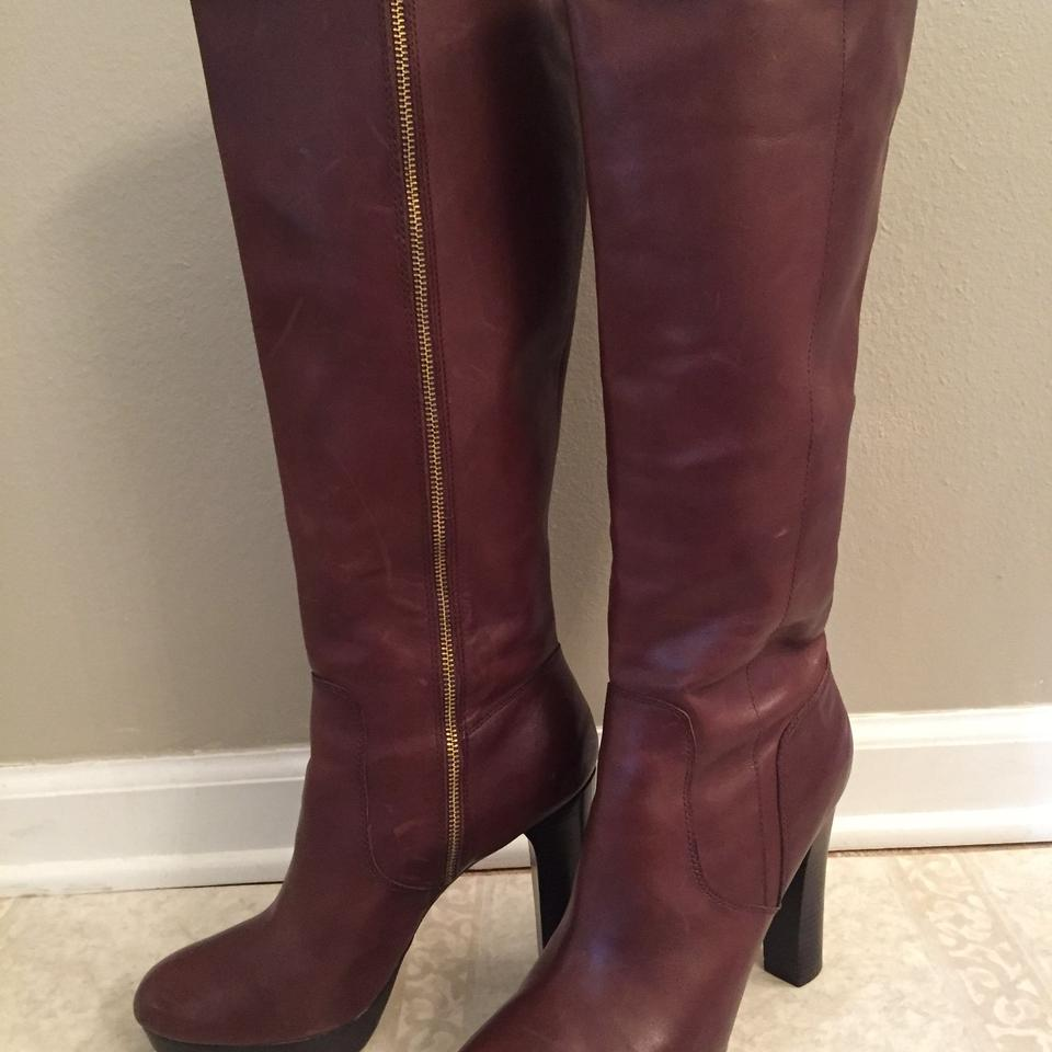 3962a090dd40 Michael Kors Brown Lesly Knee High Leather Platform Boots Booties ...