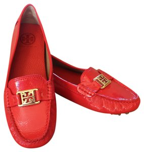 Tory Burch Patent Patent Leather Kendrick Loafer Driving Square Toe Logo Reva Monogram Gold Hardware Red Flats