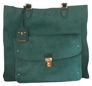 Tory Burch Leather Fur Gold Hardware Tote in Green