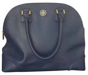 Tory Burch Classic Leather Chic Satchel in Blue
