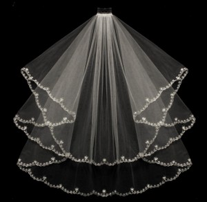 Ivory Two Layer Beaded Embroidery Edge Fingertip Wedding Veil