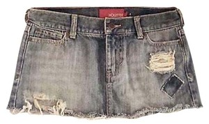 Hollister Mini Distressed Denim Patched Frayed Mini Skirt Denim Blue