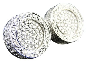 Other Mens Xl 15 Mm Dual Round Pave Diamond Earrings 0.90Ct