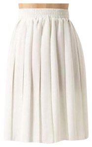 Anthropologie Tattered Edge Pleated Mini Skirt White
