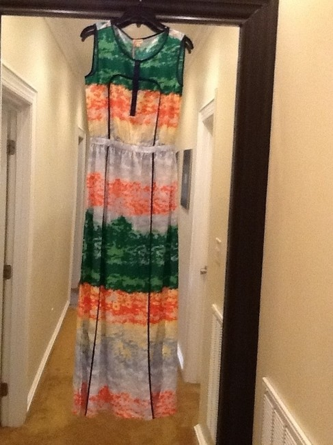 Greens navy blue light blue yellow and cream Maxi Dress by Daniel Cremieux
