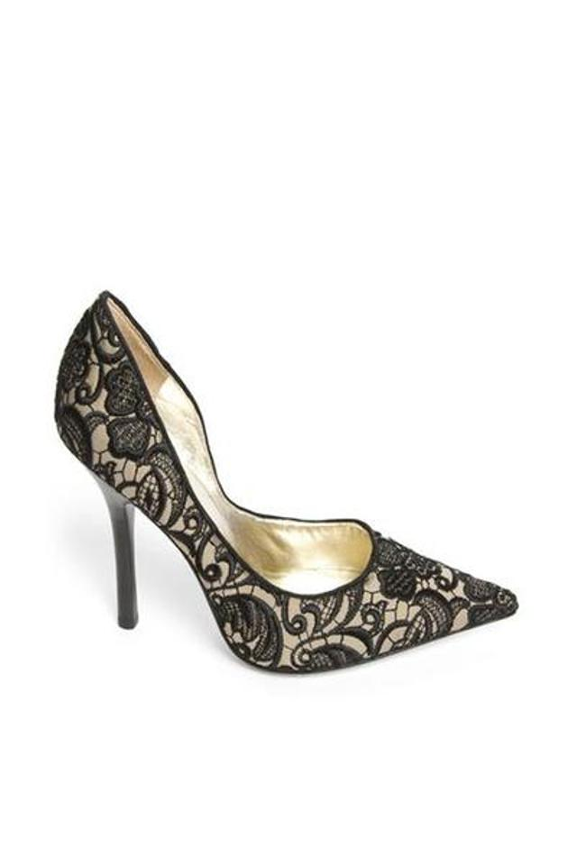 081883f2048 Guess Black Lace-covered Pointed Pumps Size US 9 Regular (M, B) 29% off  retail