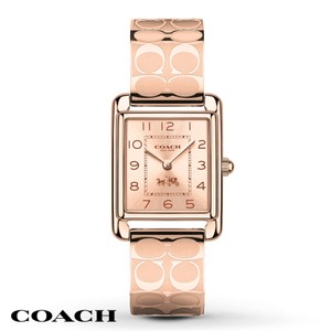 Coach Coach Signature Rose Gold Tone Bangle Bracelet Page Watch 14502161