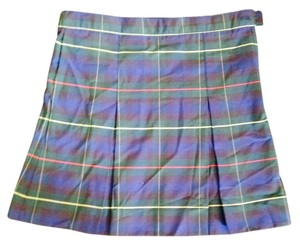 shaheens Skirt Navy & Green Plaid