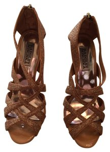 Badgley Mischka Glitter Gold Gold Sparkle Sandals