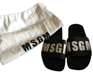 MSGM Logo BLACK/WHITE Sandals