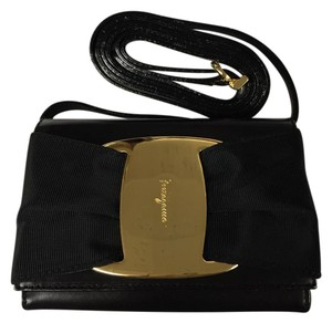 Salvatore Ferragamo Gold Hardware Vintage Leather Small Black Clutch