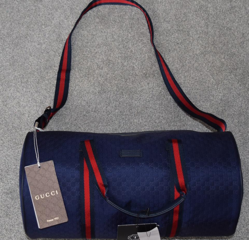 89f81f1cf55 Gucci Boston Gg Supreme Carry-on Duffle Overnight Navy Blue Weekend ...
